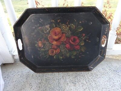 "Antique Rustic Country Toleware Tole 22"" Hand Painted Floral Serving Tray"