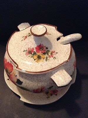 VIntageUSA CALIf. 3 pc Soup Tureen white/ brown rim and speckles. Poppy flowers.