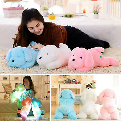 50CM Colorful Romantic LED Light Up Glow Dog Pillow Soft Cosy Relax Doll Toy US