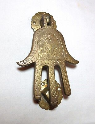 vintage solid brass ornate figural Moroccan hand of Fatima front door knocker