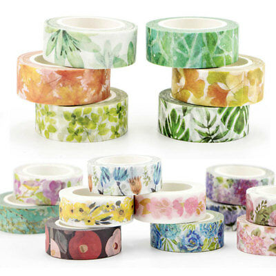 DIY Decorative Roll Washi Tape Sticky Paper Masking Adhesive Crafts Colorful x1