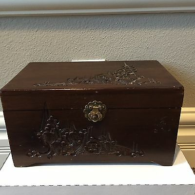 Vintage Carved Wood Chest Trinket Jewelry Box Mirror Lid Oriental Asian