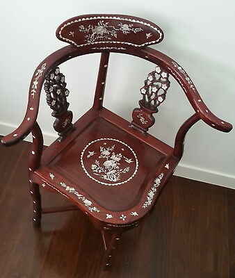 Antique Chinese rosewood corner chair mother of pearl inlay Flowers Birds