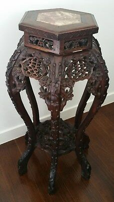 Antique Qing Chinese Heavy Carved Wood  Double Happiness Motif Marble Top Stand