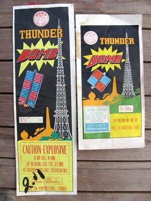 "Two Horse Brand Thunder Bomb Boomer Firecracker Pack Labels 1-1/2"" Crackers"