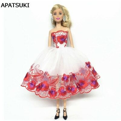 Flower Fashion Off-shoulder Clothes For 11.5inch Doll 1:6 One-piece Party Dress