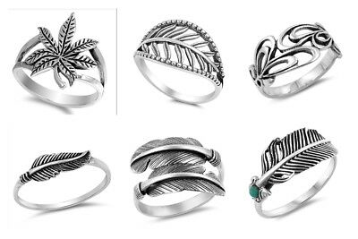 NEW! Sterling Silver 925 FEATHER DESIGN SILVER RING SIZES 4-13