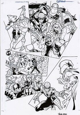 SPIDERMAN & THE X-MEN #4 ORIGINAL ART PAGE vs THE NEW SINISTER SIX MARVEL COMICS