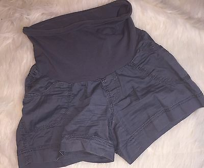 Motherhood Maternity Bluish Gray Shorts Small S Pockets Casual Belly Band A1