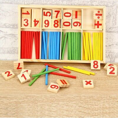 Montessori Wooden Math Game Sticks Toy Early Education Color Number Toys Kids