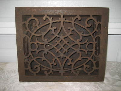 """CAST IRON HEAT GRATE - 8"""" x 10"""" ORNATE  WITH WORKING LOUVERS - PAT. DATE 1849"""