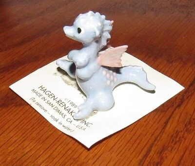 Vintage Hagen Renaker Miniature Dragon with Pink Wings Figurine on Card