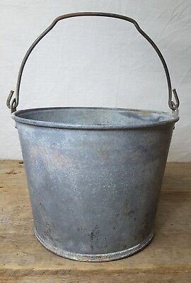 Vintage Galvanized Steel Milk Pail Metal Handle Rustic Farm Bucket Decor~ STRONG