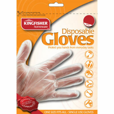 100 Pack Clear Disposable Gloves - One Size