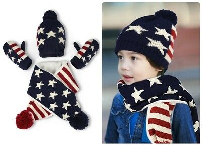 Star Stripes Warm Knitted Beanie Hat Scarf And Gloves Set For Kids Toddlers Boys