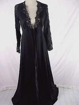 Vintage Lily Of France rosa puleo szule Black Nylon Full Sweep  Lace Robe M