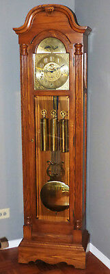 Sligh Grandfather Clock Mahogany Wood Case Lunar Dial Runs Strikes 0957-1-BE