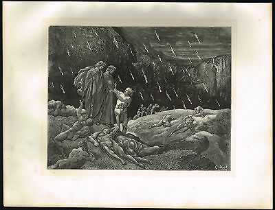 1860's ANTIQUE Old Vintage Brunetto Latini Hell Gustave Dore Art Engraving PRINT