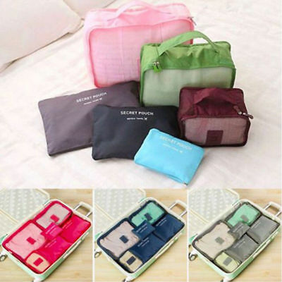 6X Waterproof Travel Clothes Storage Bags Luggage Organizer Pouch Packing Cubes