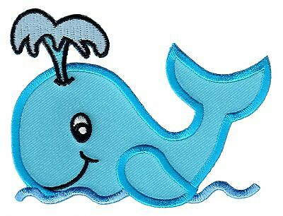 Whale Iron On Patch Embroidered Applique  - Ocean / Sea / Kids / Baby