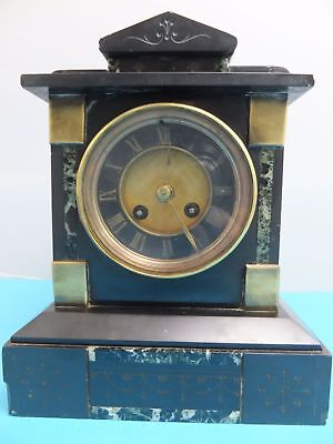 Antique French Marble/Slate Striking Mantle Clock 19th Century Brass inlaid Rare