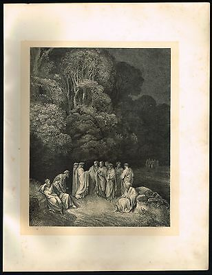 1860's Old ANTIQUE Vintage Homer & Poets Limbo Gustave Dore Art Engraving PRINT