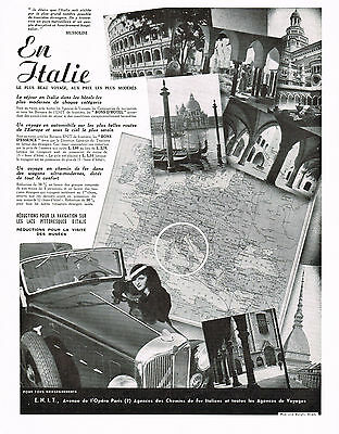 1930's BIG Old Vintage ITALY Travel Tourism Architecture Map Photo Print AD .
