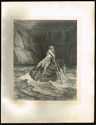 1860's Old ANTIQUE Vintage Charon in Boat Gustave Dore Art Engraving PRINT