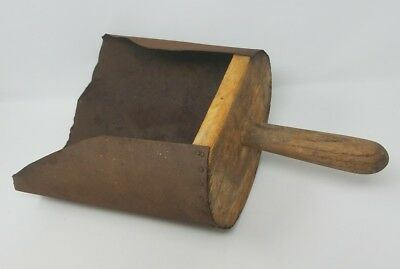 Antique primitive feed scoop wood and metal