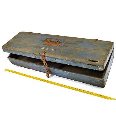 Antique HOMEMADE SAW TOOL BOX No. 468 Blue w/ CORBIN CABINET CO. PADLOCK Patina!