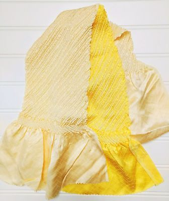 VINTAGE 100% Silk Japanese Kimono Obiage Obi Belt Scarf Yellow Cream