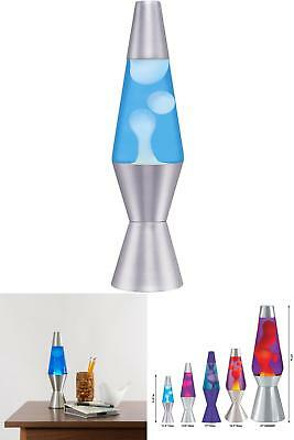 Retro Lava Lamp Liquid Motion Vintage Night Light Blue White Silver Base 11.5&Am
