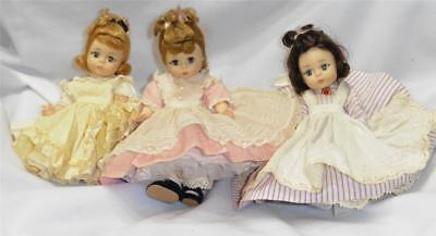 3 Vintage Madame Alexander Kins Alex Little Women Beth Meg & Amy Bent Knee