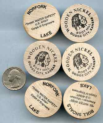 Vtg Lot of 6 Wooden Coins Indian Nickle Buffalo Souvenir Boot Hill Front Street