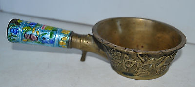 Vintage Coal Scoop Cup Brass Frame Flower Garden Enamel Cloisonne China
