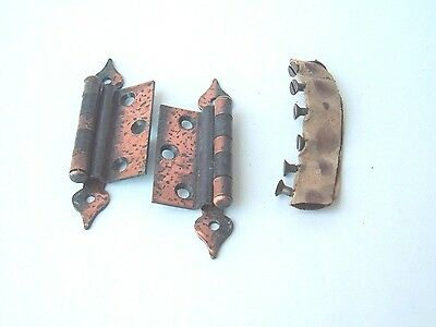 One Pair Of Vintage Amerock Antique Copper Colonial Hinges & Hardware E1640Ac