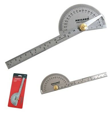 "CT4290 6"" 150mm Ruler And Protractor Imperial & Metric Angle Finder 180 Degree"