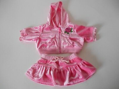 Build A Bear Babw Pink Velour Rose Hoodie Skirt Outfit Teddy Clothes