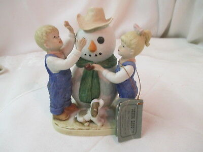 Vintage 1985 Homco Denim Days Figurine Our Snowman #1508 2 Kids & Dog