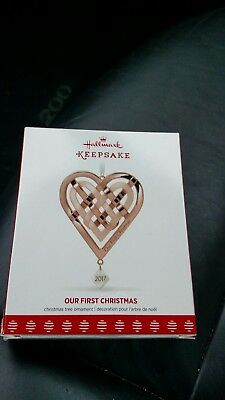 2017 Hallmark OUR FIRST CHRISTMAS Dated Ornament Rose Gold Metal by E Kegrize