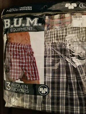 B.U.M. Equipment BOXER shorts underwear plaid pack of 3 NEW NWT Size L LARGE