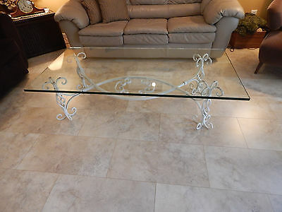 vtg antique cast wrought Iron coffee table Shabby chic Spanish glass local  p/u