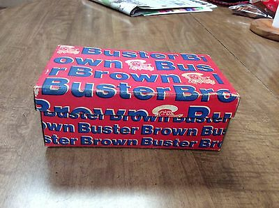 Vintage Buster Brown Child's Shoe Box Red with Blue and White logo