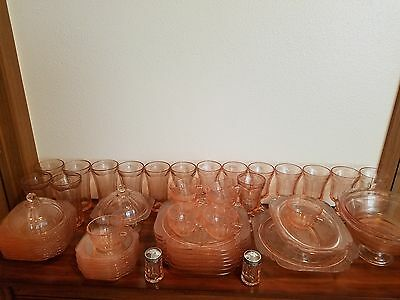 56 Piece Recollection by Indiana Pink Vintage Glass Tableware