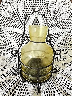BOHO-RUSTIC Style Green Glass LANTERN for Tealight Candles