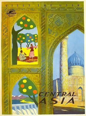 Visit the USSR Central Asia Russia Vintage Russian Travel  Art Poster Print