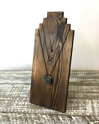 """Rustic Necklace Display Stand Pine Wood Distressed Craft Show Boutique 14"""" Tall"""