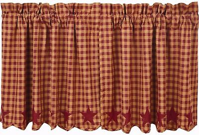 "24"" L Burgundy Star Patch Country Cafe Curtains Window Tier Set Red Tan Check"