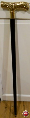 "36"" Vintage Antique Style Brass Handle Wood Victorian Walking Stick Cane Black"