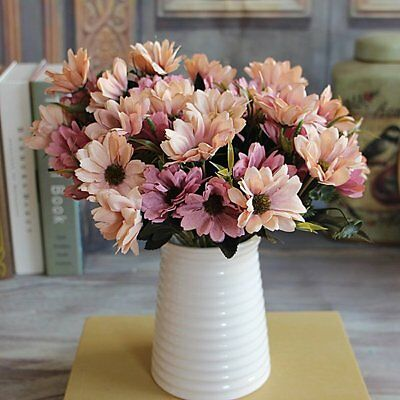 French Rose Floral Artificial Silk Fake Peony Flower Spring Daisy Decor Purple